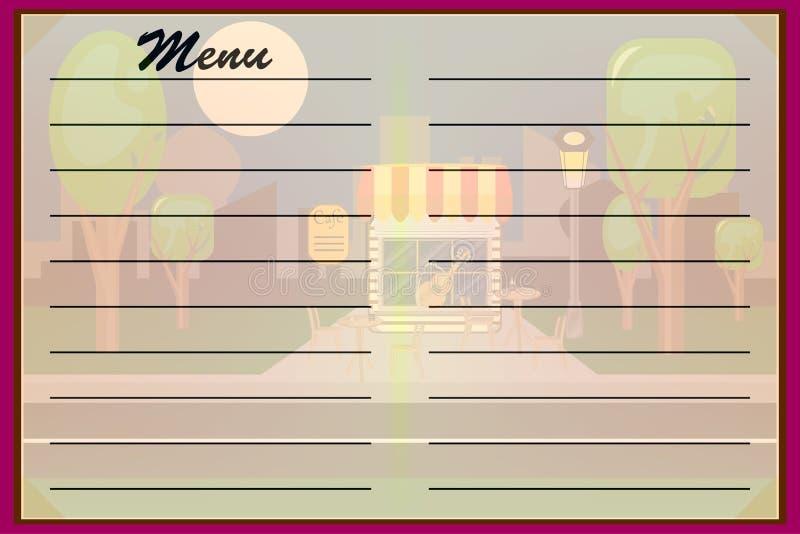 menu Wektorowi naczynia kawiarnie, restauracje ilustracji