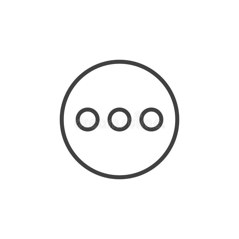 Menu, więcej kółkowa kreskowa ikona Round prosty znak royalty ilustracja