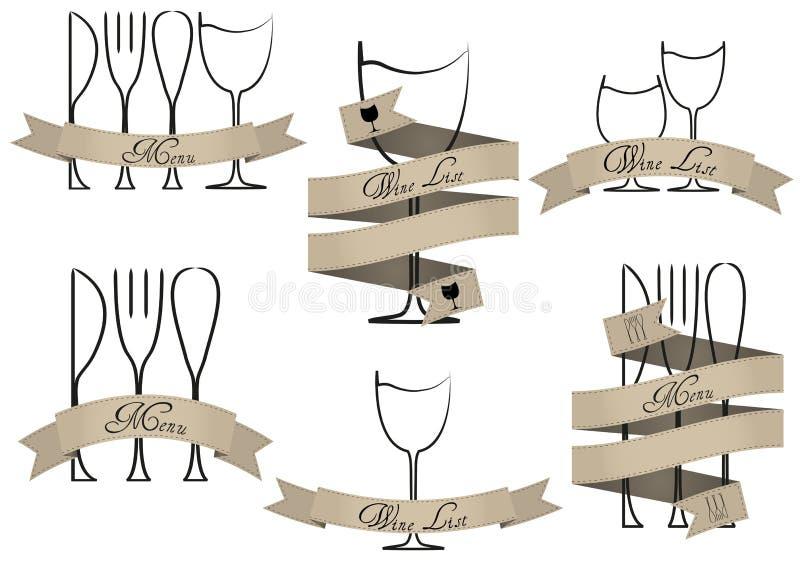 Menu, wijnlijst vector illustratie