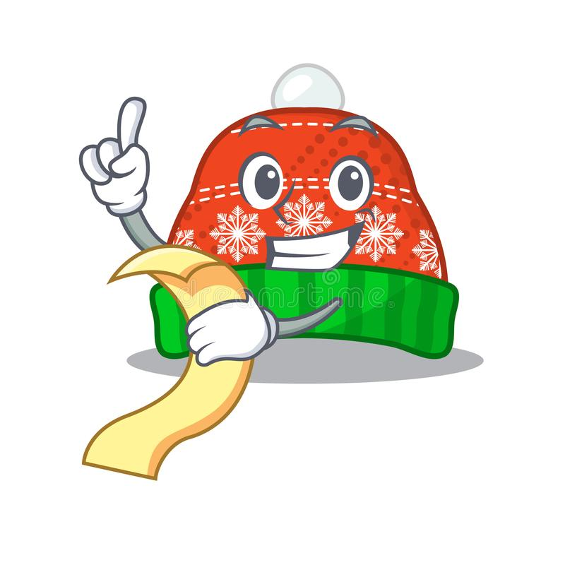 With menu winter hat in a cartoon bag stock illustration