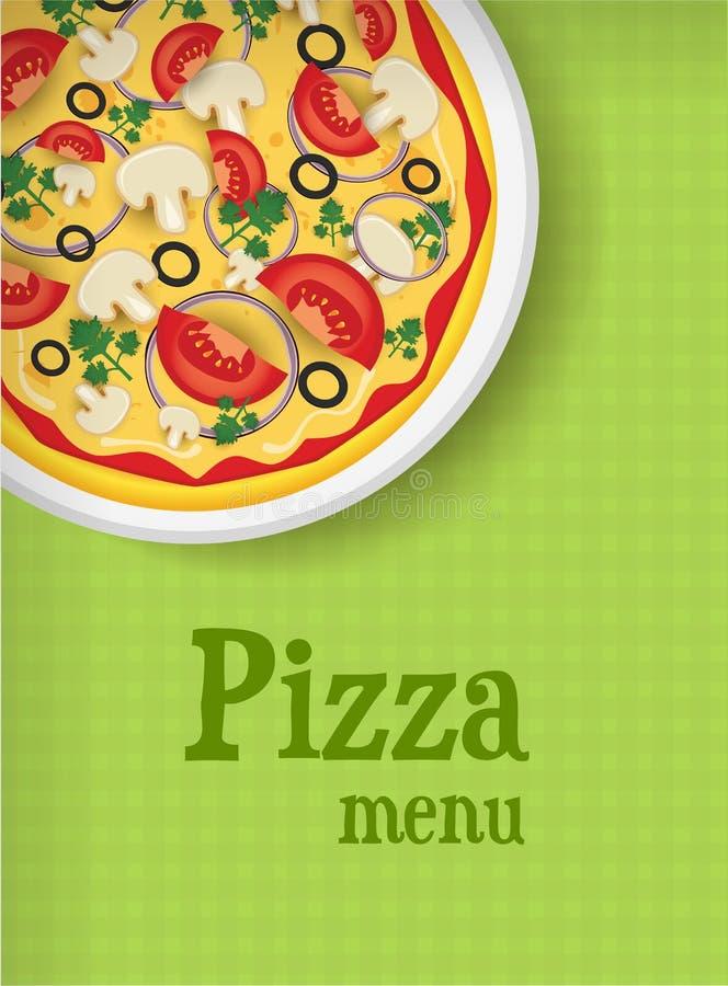 Menuachtergrond met pizza stock illustratie