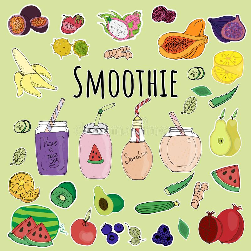 Menukaart, smoothie samenstelling, stock illustratie