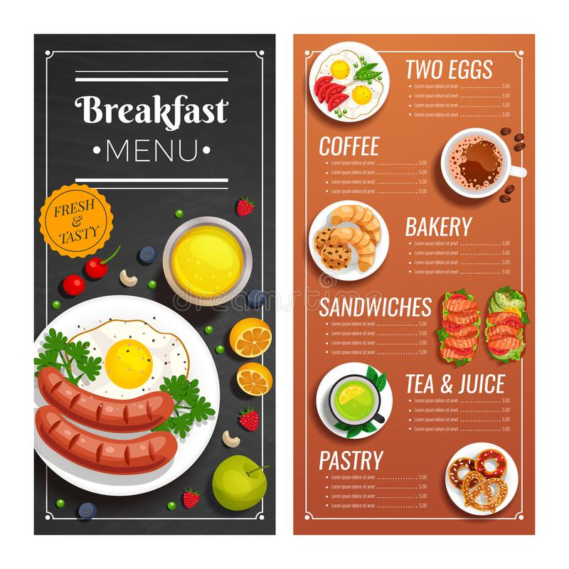 Menuontwerp voor koffie en restaurant stock illustratie