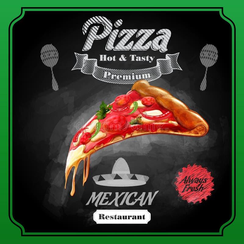 Menupizza Mexicaan stock illustratie
