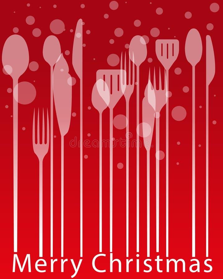 Menus de Noël, couverts dinant la carte d'invitation de dîner illustration libre de droits