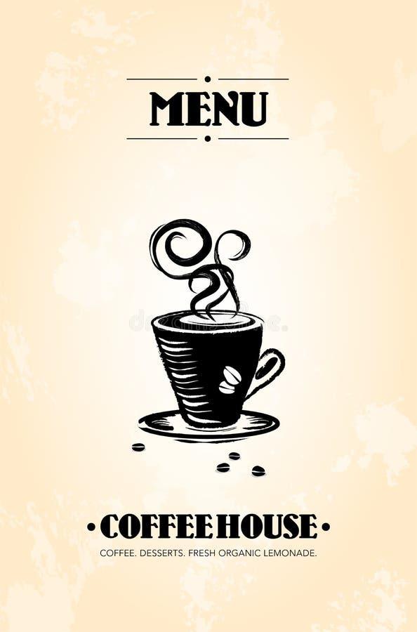 Meny av det abstrakta kaffehuset med koppen kaffe vektor illustrationer