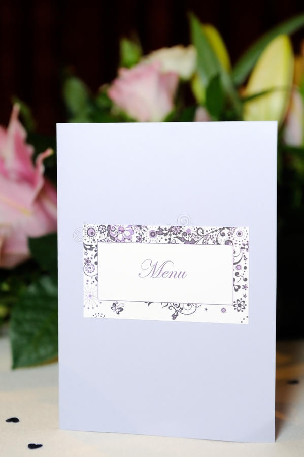 Meny för bröllopmottagande royaltyfri bild