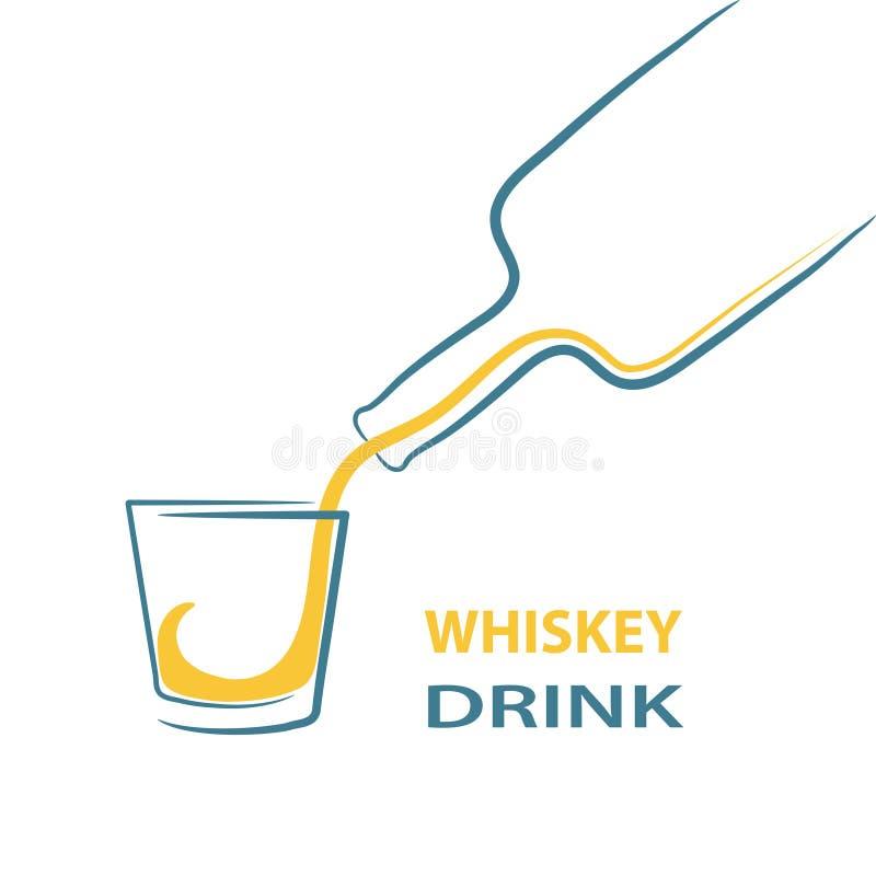 Meny för färgstänk för whiskyglasflaskaskott, materielvektorillustration royaltyfri illustrationer