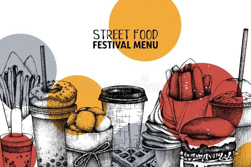 Meny för gatamatfestival med tappningillustrationer Snabbmat inristade stildesign med vektorteckningen för logoen, symbolen, etik vektor illustrationer