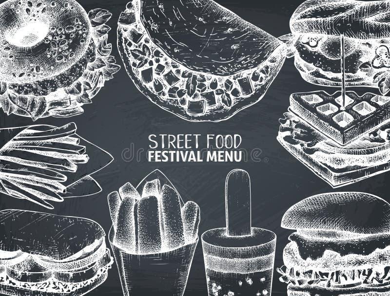 Meny för gatamatfestival på den svart tavlan Tappning skissar samlingen Snabbmat inristad stildesign Vektorteckning för logoen, s stock illustrationer