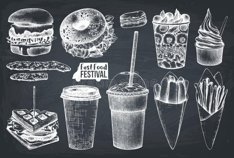 Meny för gatamatfestival Tappning skissar samlingen taco för pie för burritosnabbmatkebab set Inristad stildesign Vektorhamburgar vektor illustrationer