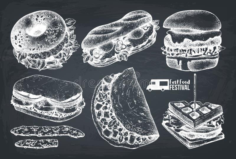 Meny för gatamatfestival Tappning skissar samlingen taco för pie för burritosnabbmatkebab set Inristad stildesign Vektorhamburgar stock illustrationer