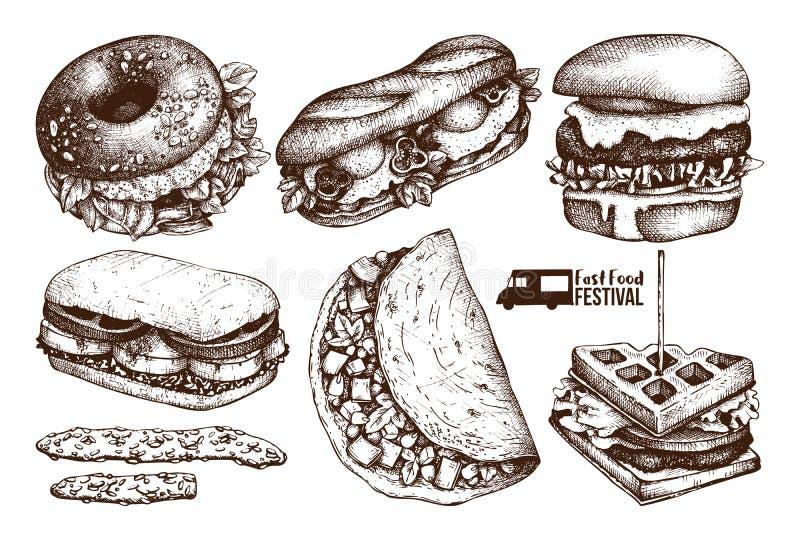 Meny för gatamatfestival Tappning skissar samlingen taco för pie för burritosnabbmatkebab set Inristad stildesign Vektorhamburgar royaltyfri illustrationer