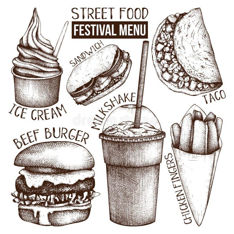 Meny för gatamatfestival Tappning skissar samlingen taco för pie för burritosnabbmatkebab set Inristad stilmall Förpackande desig royaltyfri illustrationer