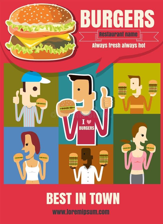 Meny för hamburgare för snabba foods för broschyr- eller affischrestaurang med folk royaltyfri illustrationer