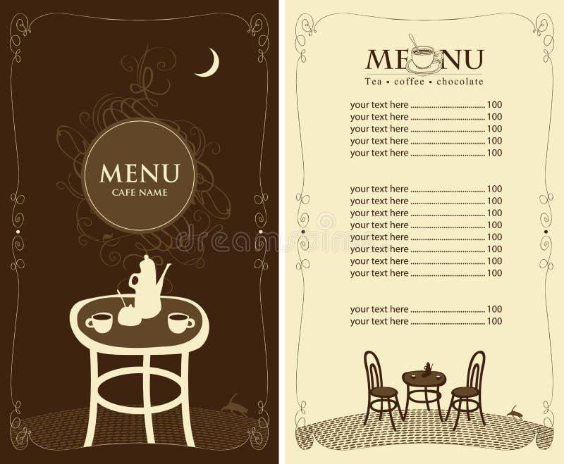 Meny för nattkafét royaltyfri illustrationer