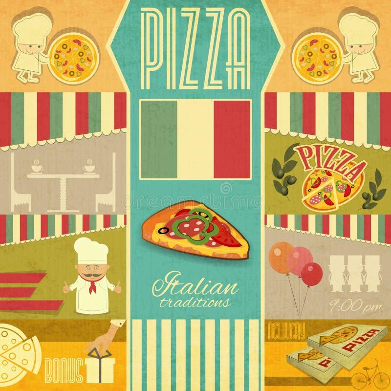 Meny för pizzeria vektor illustrationer