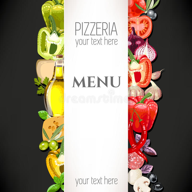 Meny för pizzeria stock illustrationer