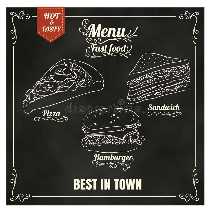 Meny för snabba Foods för restaurang på svart tavlavektorformatet eps10 stock illustrationer