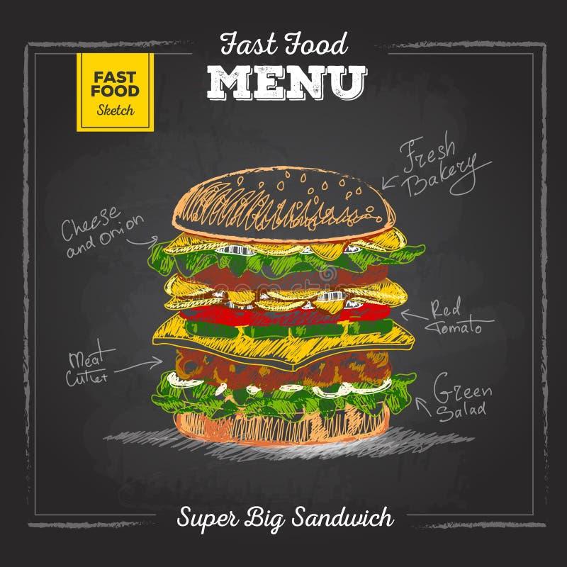 Meny för snabbmat för tappningkritateckning Smörgås stock illustrationer