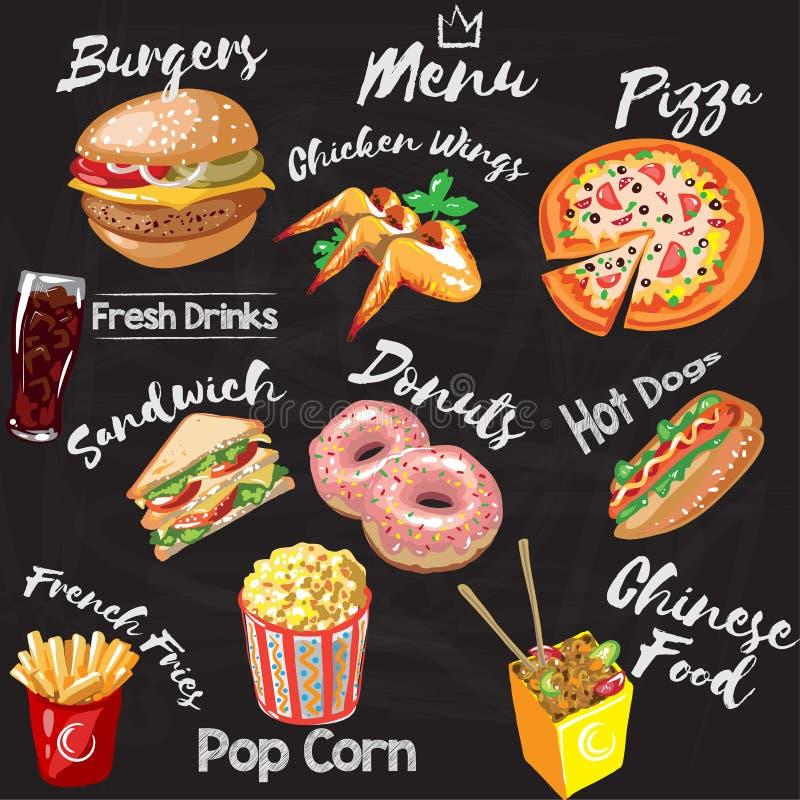 Meny för svart tavlafastfoodrestaurang - hamburgare, franska småfiskar, hotdog, fega vingar, donuts, pizza, pophavre, kines royaltyfri illustrationer