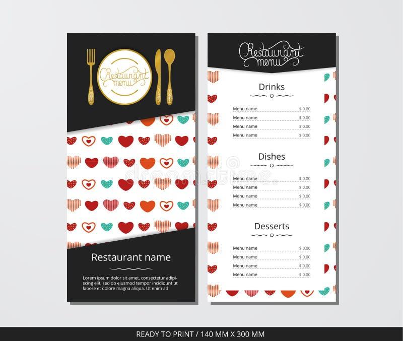 Meny för vektormallrestaurang med guld- färgrika hjärtor för bestick och för modell vektor illustrationer