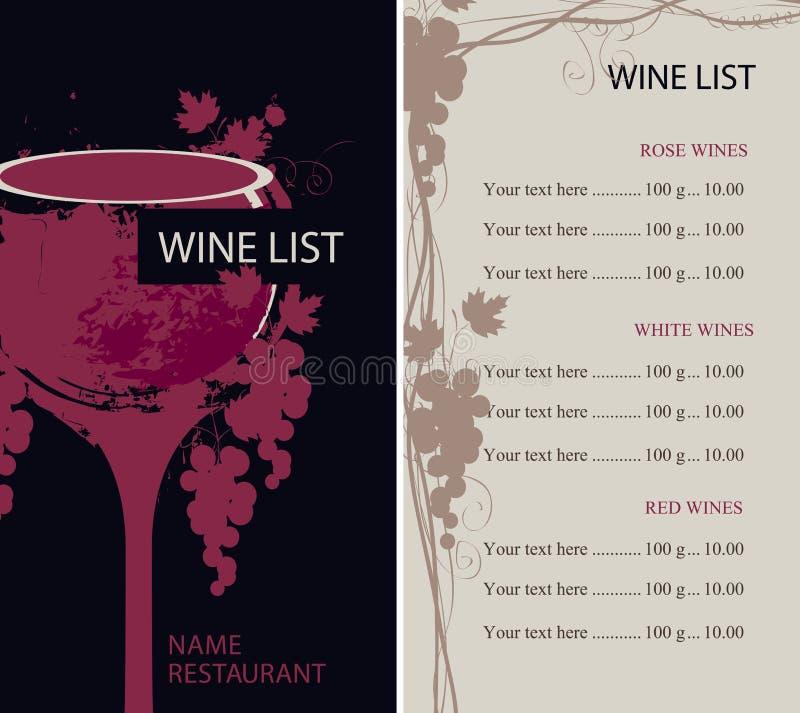 Meny för vinlista med exponeringsglas och druvor stock illustrationer