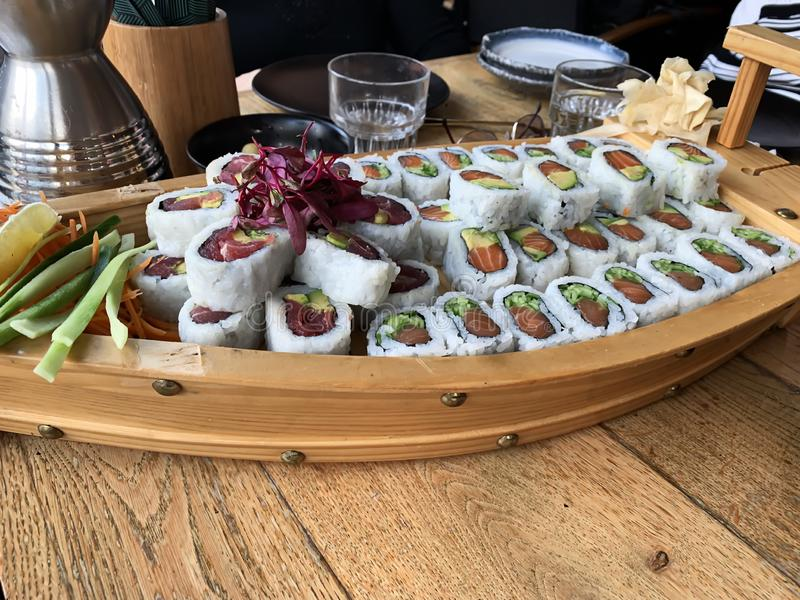 Meny f?r sushi f?r sushirullar Japansk mat royaltyfri foto