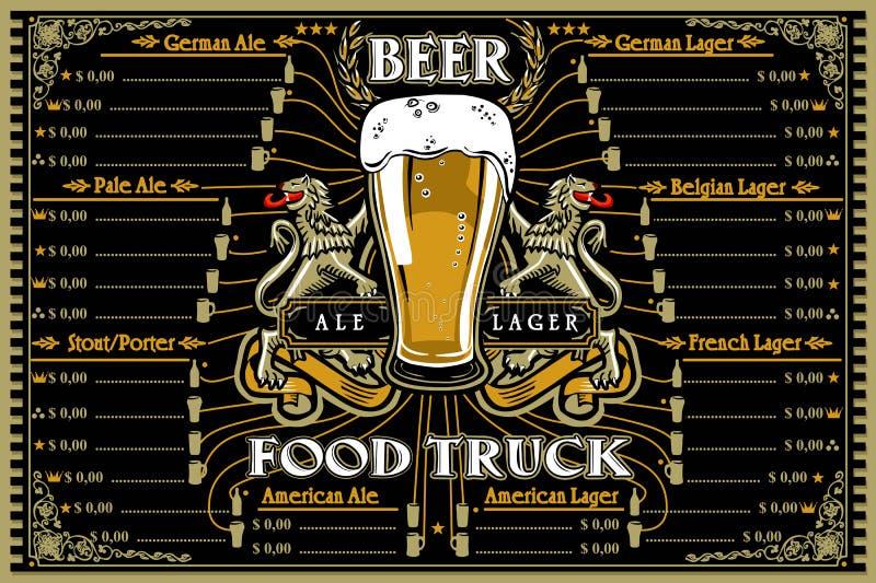 Meny och logo för ölmatlastbil stock illustrationer