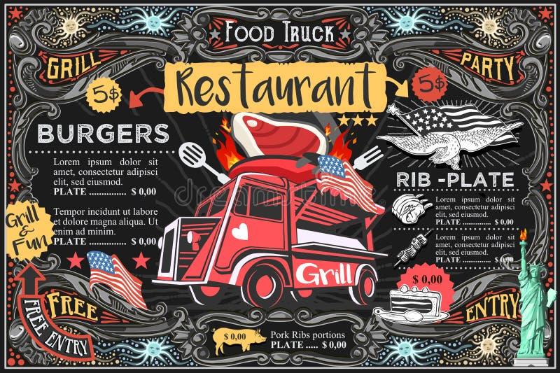 Meny och logo för matlastbilvektor stock illustrationer