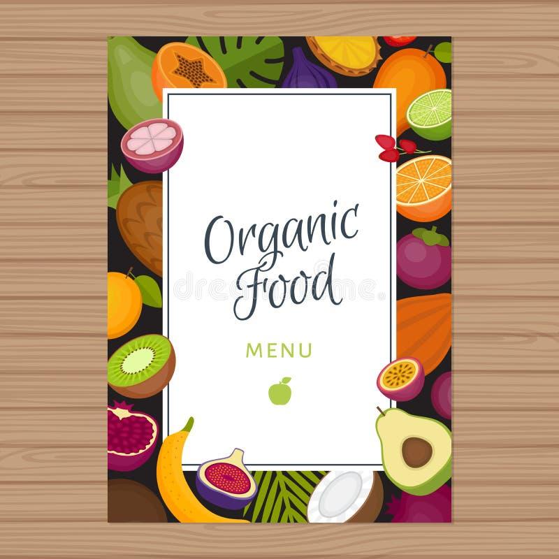 Menybakgrund för tropiska frukter sund mat Organisk mat fla stock illustrationer