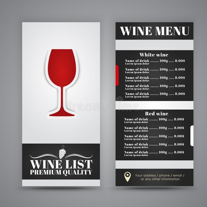 Menydesign för vinkaféer, restauranger royaltyfri illustrationer