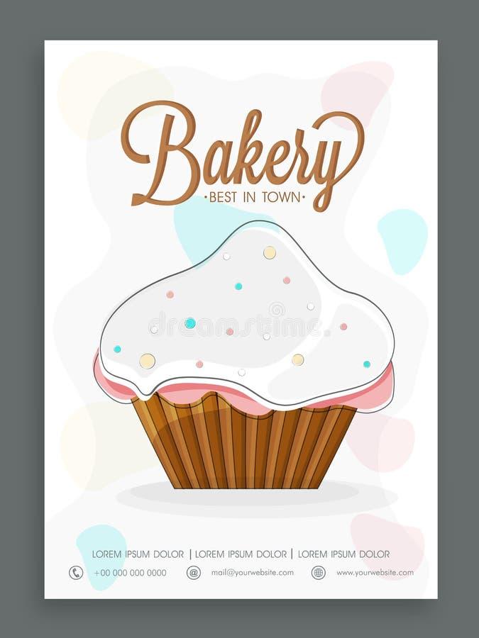 Menykortdesign för bageri stock illustrationer