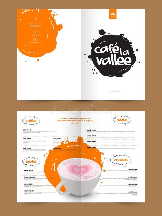 Menykortdesign för restauranger och kafé stock illustrationer