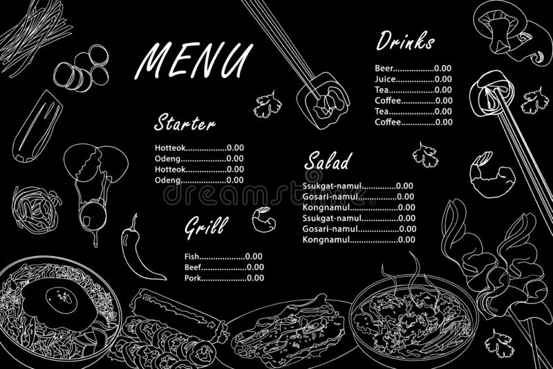 Menymall för koreanska köksblad. Asiatisk vit kontur visar bibimbap, gimbap, guksu, odeng, galbi-gui mot svart bakgrund stock illustrationer