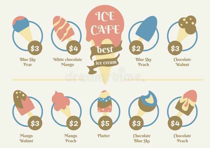 Menymatdesign för glasskafé Idérik garnering för söt efterrätt royaltyfri illustrationer