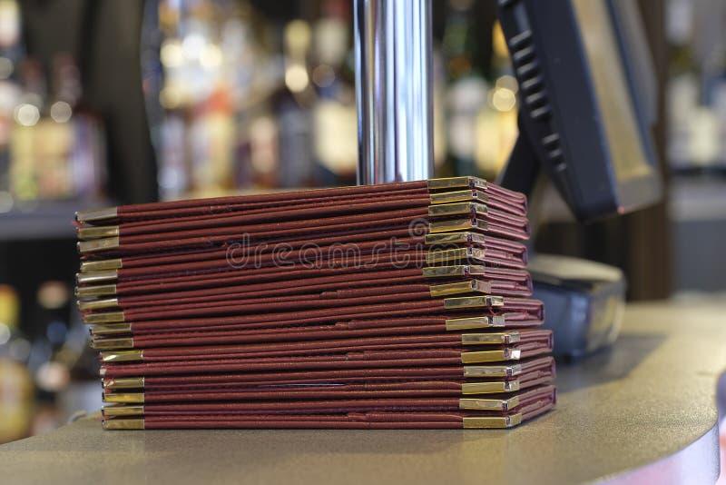 Menyn cards tätt upp fotografering för bildbyråer