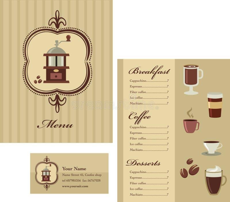 Menyn och mallen för affärskort planlägger - kaffe royaltyfri illustrationer