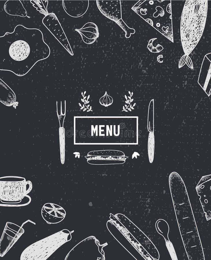 Menyräkning med hand dragen mat svart white stock illustrationer