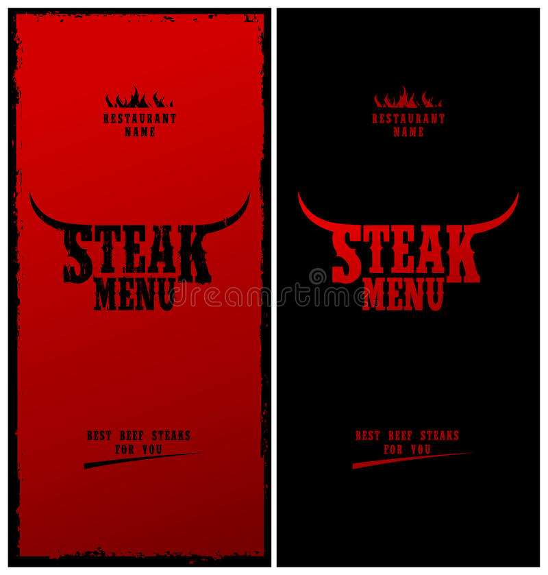 menysteak royaltyfri illustrationer