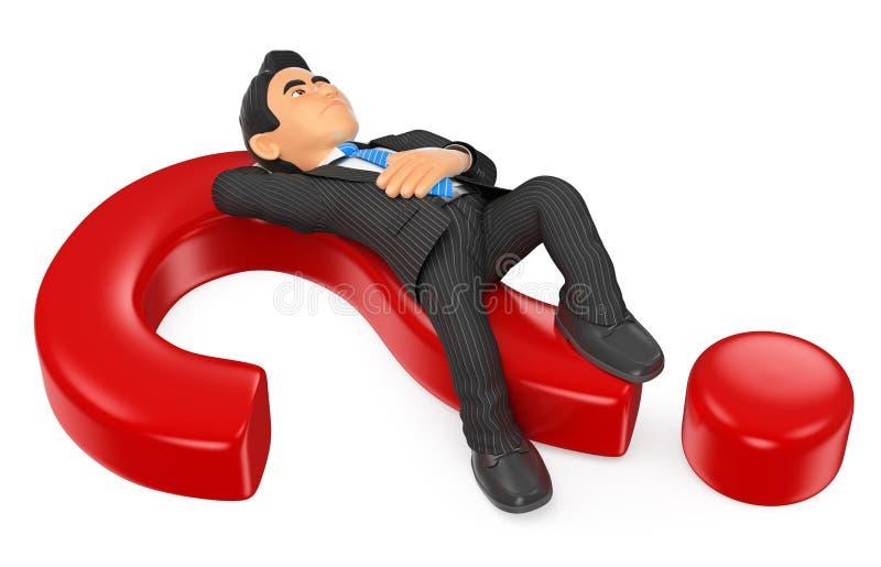 menzogne premurosa dell'uomo d'affari 3D su un punto interrogativo illustrazione di stock