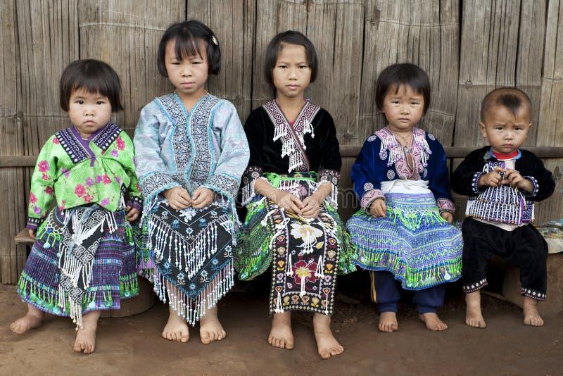 meo för hmong för asia barnfolkgrupp arkivfoto