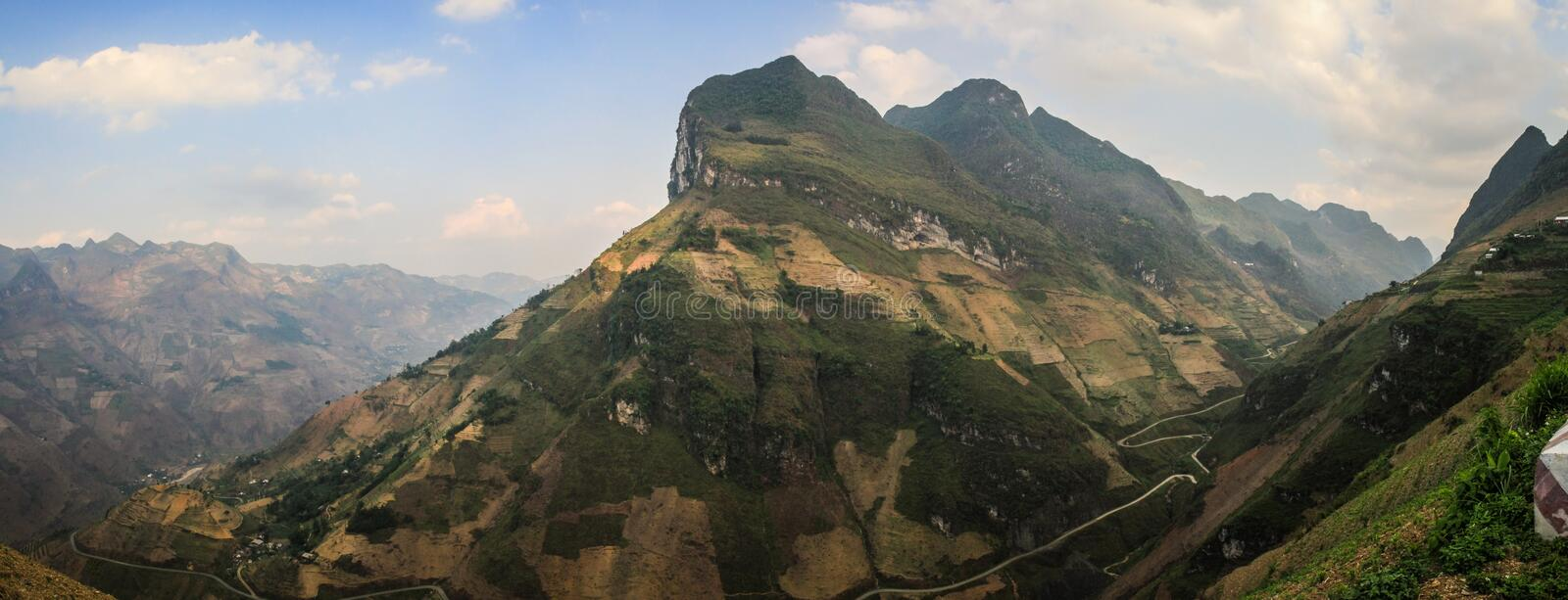 Panoramic view of the majestic karst mountains around Meo Vac, Ha Giang Province, Vietnam. Meo Vac is a small but charming district capital hemmed in by steep royalty free stock photos