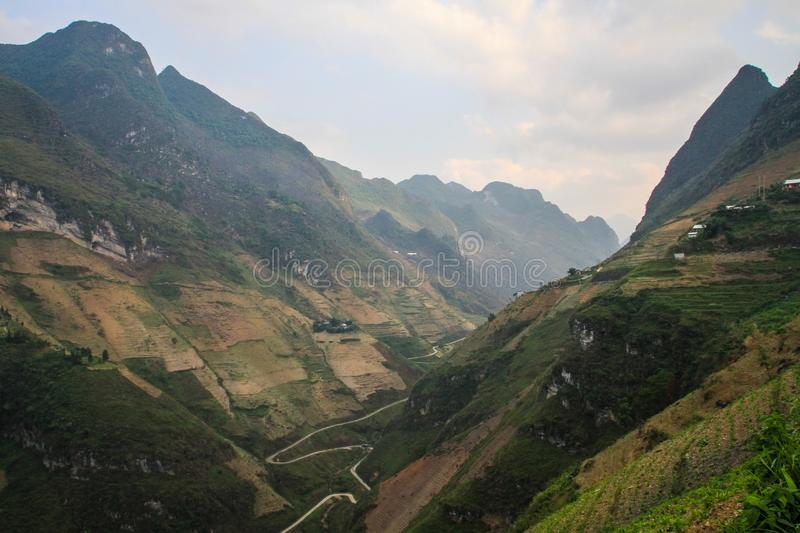 The majestic karst mountains around Meo Vac, Ha Giang Province, Vietnam. Meo Vac is a small but charming district capital hemmed in by steep karst mountains and stock photo