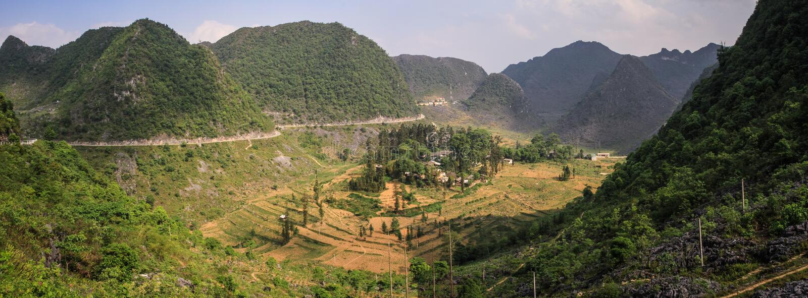 Panorama of the majestic karst mountains around Meo Vac, Ha Giang Province, Vietnam. Meo Vac is a small but charming district capital hemmed in by steep karst royalty free stock photos