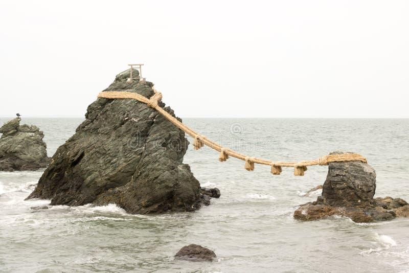 Meoto Iwa, Gehuwde Rotsen, Ise Shrine, Mie, Japan royalty-vrije stock fotografie