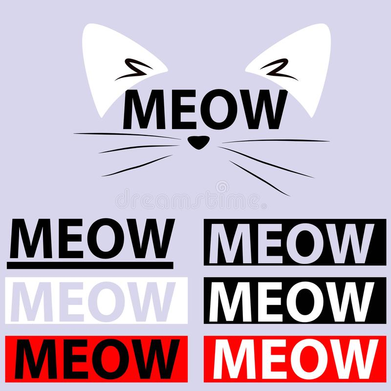 Meow - γάτα - λογότυπο - απόσπασμα στοκ εικόνες με δικαίωμα ελεύθερης χρήσης