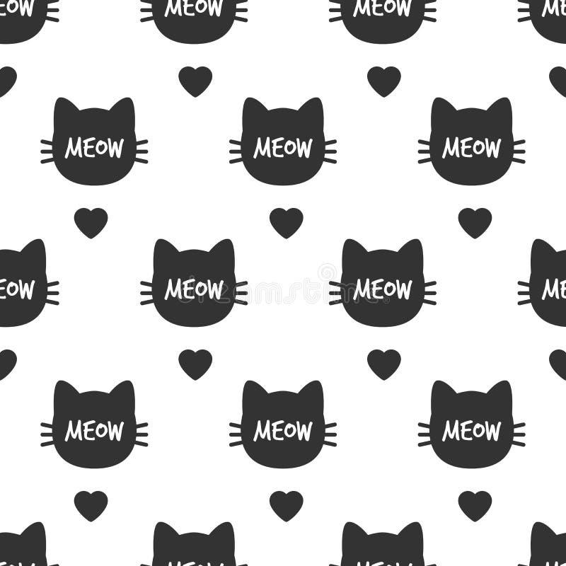 meow Cat Head Modèle sans couture de chat mignon Vecteur illustration stock