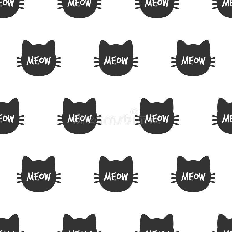 meow Cat Head Modèle sans couture de chat mignon Vecteur illustration de vecteur