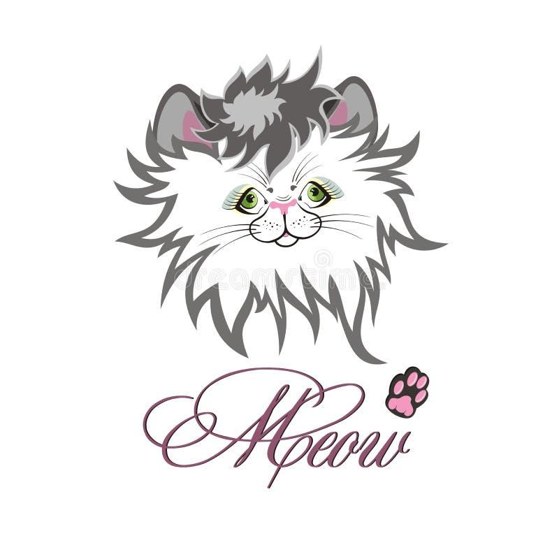 meow Le visage du chat mignon illustration de vecteur